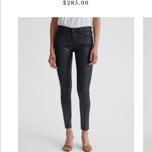 Leatherette ankle jeans.